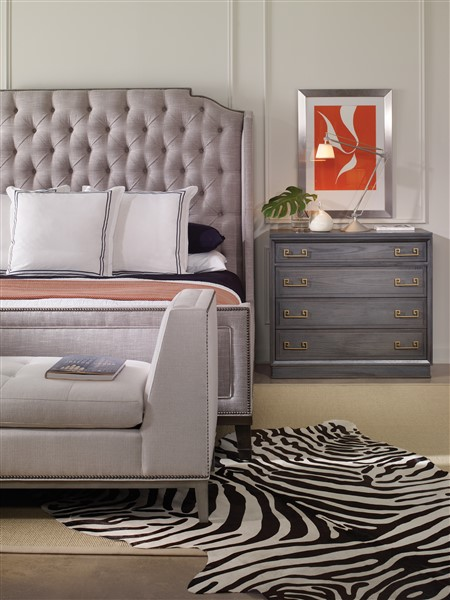 AS SHOWN: W554P Haley Drawer Chest. Finish: Harrison Gray. Optional* Greek  Key Hardware In Satin Brass. *Optional Charges May Apply.