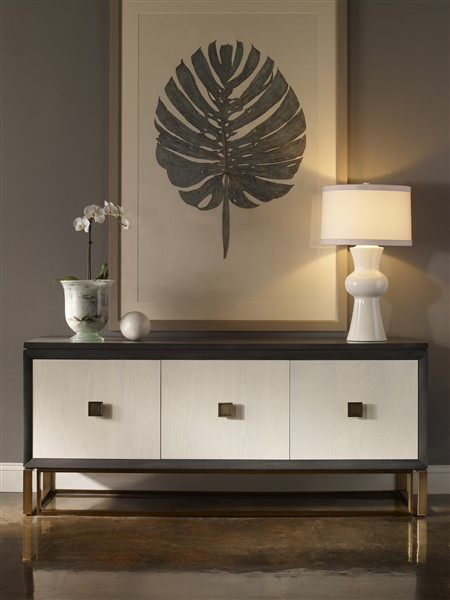 AS SHOWN: P219SC LG Wallace Storage Console. Finish: Langdon (exterior,  Interior); Brushed Linen (inside And Outside Of Doors); Satin Brass (base,  ...
