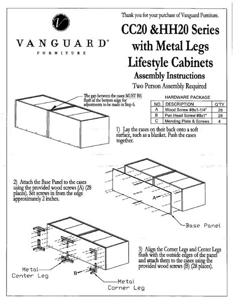 Assembly Instructions Vanguard Furniture