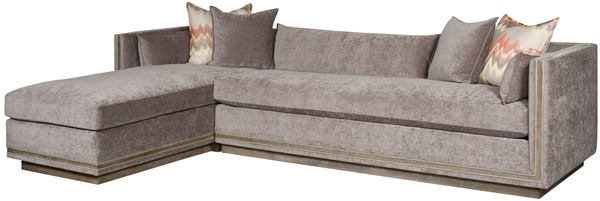 AS SHOWN: 9069 LAH Left Arm Chaise Shown With 9069 RAS Right Arm Sofa.  Fabric: Vortex Grey With Contrast Welt In Naven Vapor; One Standard  16.5u201dx29.5u201d ...