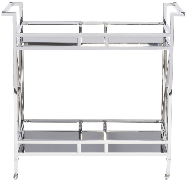 As Shown Finish Mirror Polished Stainless Steel Frame Black Glass Shelves